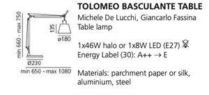 Schreibtischlampe Artemide BASCULANTE (Lampenschirm aus Pergament) small 1