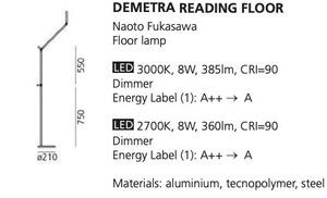 Stehlampe zum Lesen Artemide DEMETRA Antracyt 2700K 1734W10A small 1