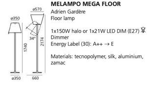 Stehleuchte Artemide MELAMPO Mega grau Aluminium small 1