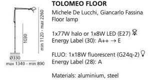 Artemide Tolomeo Aluminium A001000 Stehleuchte small 1