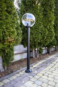 Gartenlampe stehend Mondlampe transparent 30 cm E27 schwarzer Pfosten 100 cm small 2