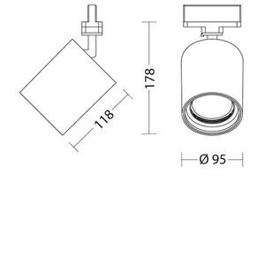 SAM 230 Quattrobot Aluminiumreflektor 10W 3000K CRI 84 kompatibel mit Sammelschienen der Marke Stucchi small 1