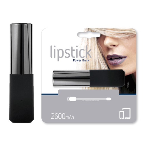 Power Bank Lipstik 2600mAh silber / schwarz
