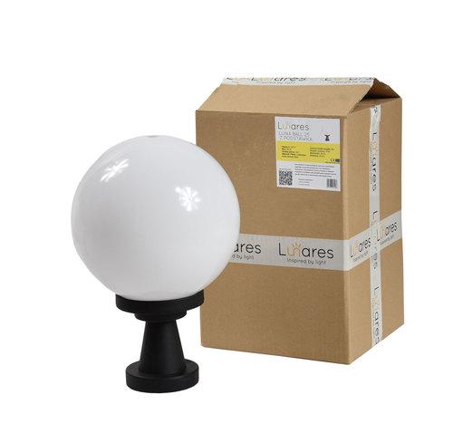 Gartenlampe Luna Ball Plinto 25 cm E27 LED weiß Sockel