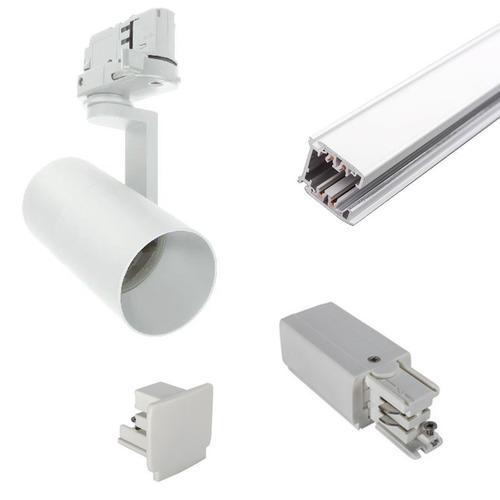 Einbaufertiges 3-Phasen-Stromschienenset 1m 2 GU10 LED 10W schwarz oder weiß