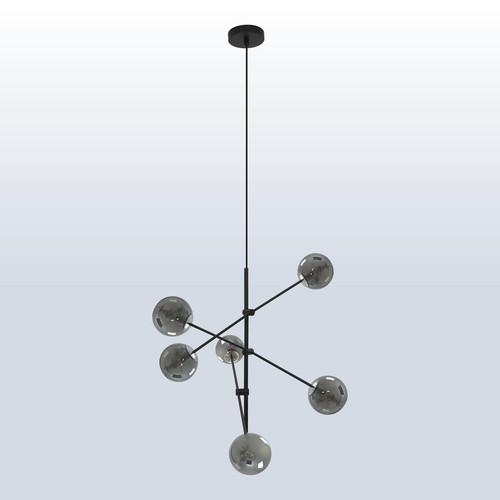 Hängelampe Rotor 6 mit dunklem Schirm