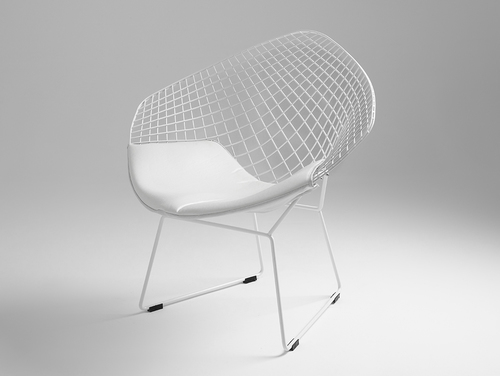 DIAMENT Stuhl - weiß, weißes Kissen