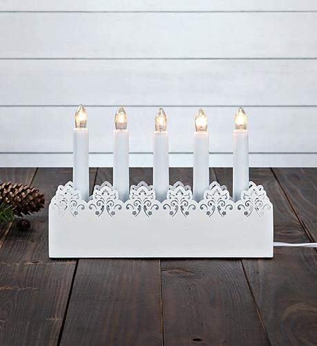 PRINCE Kerzenhalter 5L Weiß