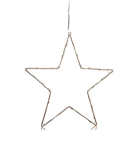 NORDGÅRD Star LED 40cm B / O Mit Stecker Kupfer