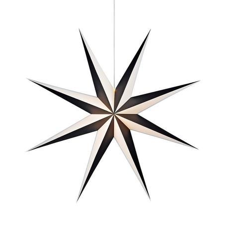 ALVA Papieranhänger Stern 75 Schwarz Weiß