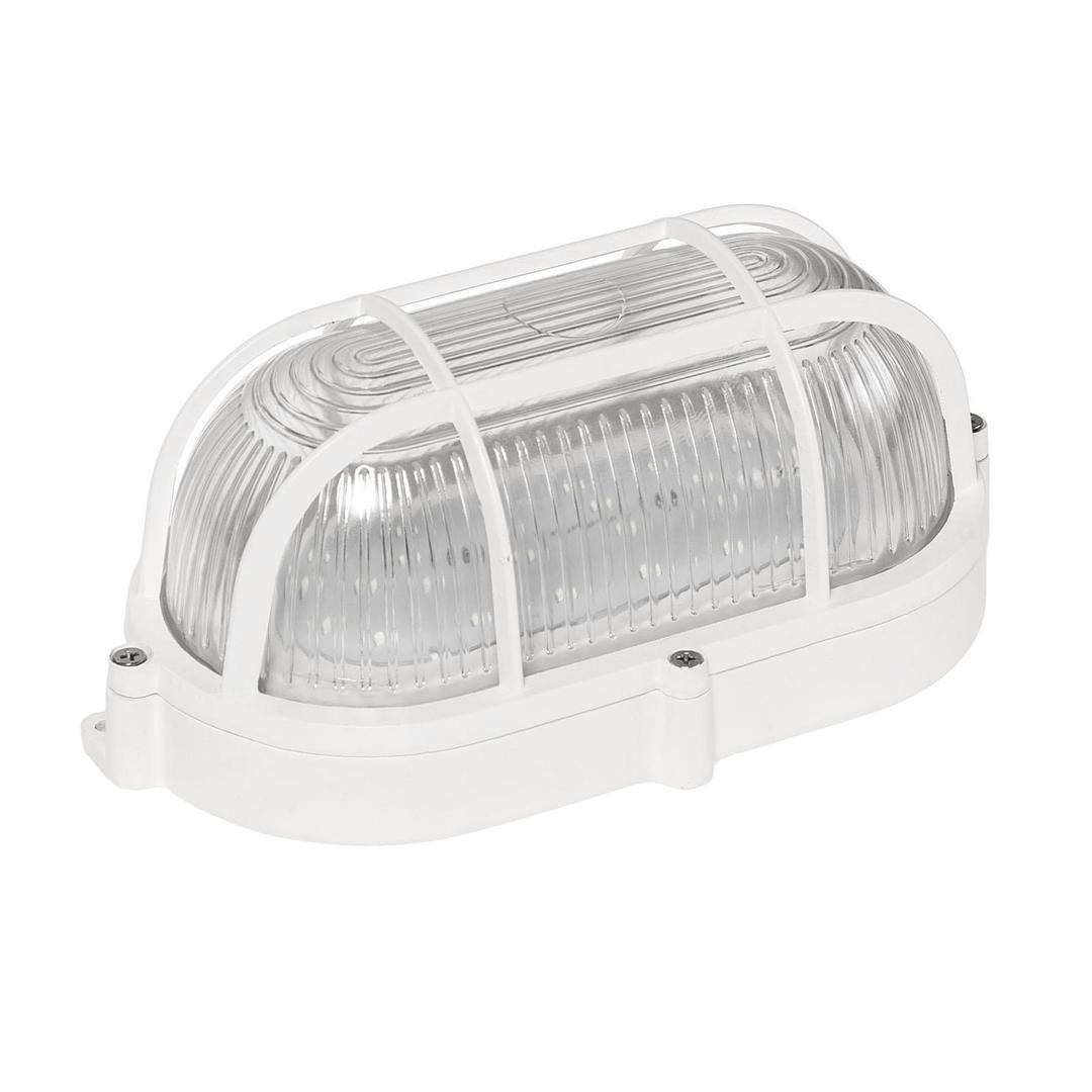 Technik Lampe Led 9 W Ip65 230 V Nw Oval, Prismatischer Glasdiffusor, Aluminiumkorb, Alu-Sockel