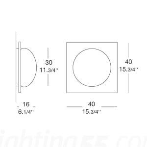 Wandleuchte / Plafond Murano Due (Leucos) Gio 40 Wenge 2x75W small 2