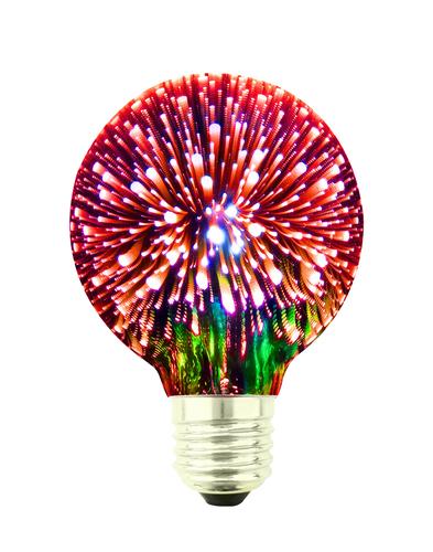 Dekorative LED Birne 3D Feuerwerk G80 E27 4W 230V Rot