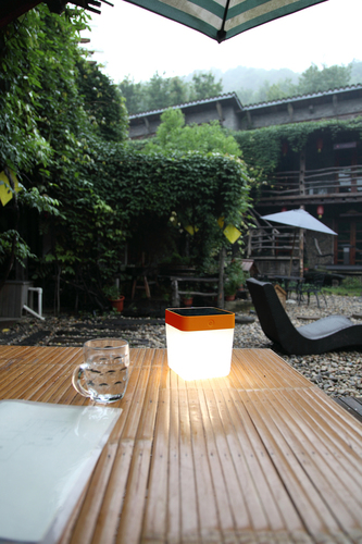 Outdoor Solar Tischleuchte Lutec TABLE CUBE orange