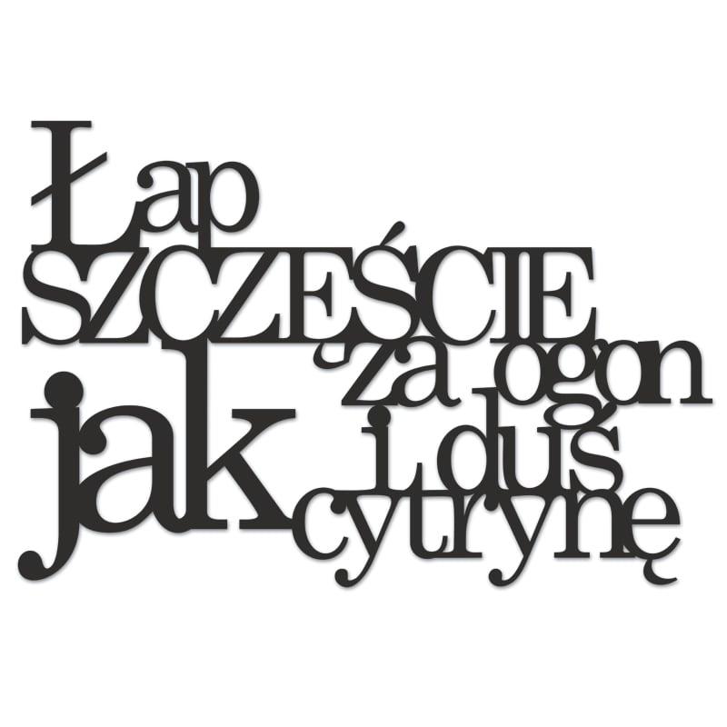 Die Inschrift an der Wand FEET HAPPY FOR TAIL UND DUŚ AS LEMON schwarz