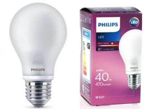 PHILIPS LED Lampe 4,5W E27 230V WEISS