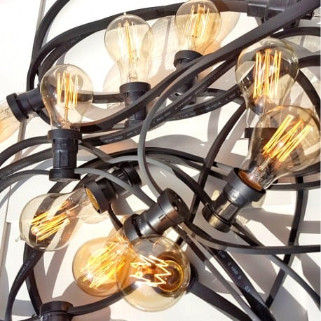 Black Garden Light String 30m 60 Lampenfassungen