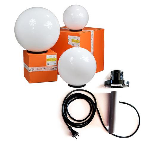 Dekorativekugelnset - Luna Ball: 30, 40, 50 cm mit Montageset, 3 m Kabel, Befestigungspfosten + led