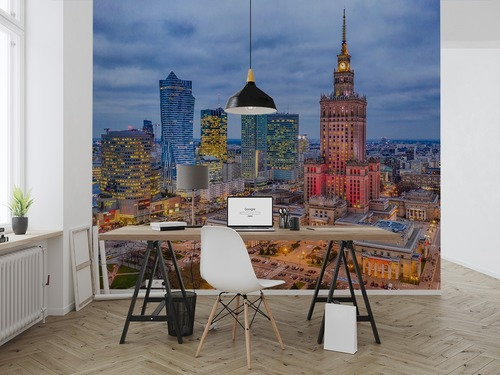 Fototapete Beleuchtete Warschau Zentrum am Abend, Palast der Kultur und Wolkenkratzer