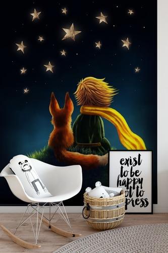 Fototapete Little Prince, dekorativ für ein Kinderzimmer, Little Prince und Fox, Sternenhimmel