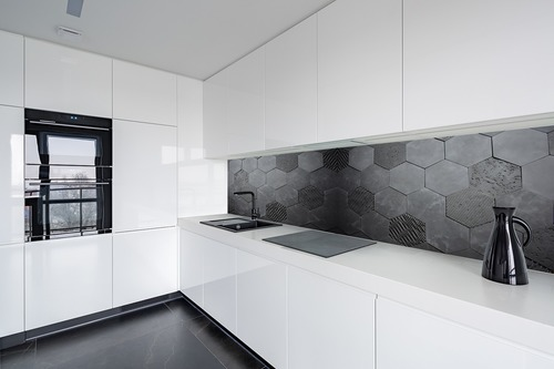 Fototapete 3D Honeycomb, Anthrazit, Beton, Sechseck, Loft-Stil