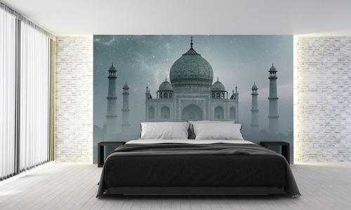 Fototapete Taj Mahal India, Sternenhimmel, Nebel, Farbverlauf, grau, für das Schlafzimmer, Wohnzimmer