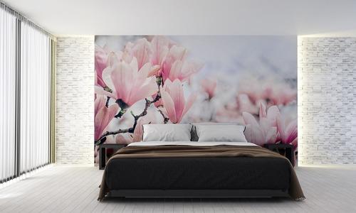 Fototapete Blumen, rosa Magnolie, Frühling, Schlafzimmer Fototapete