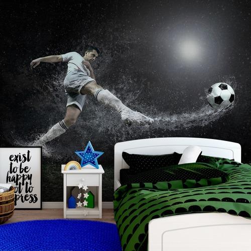 Fußball-Fototapete, Fußballspieler, Regentropfen, Fußball, Fototapete für das Jungenzimmer