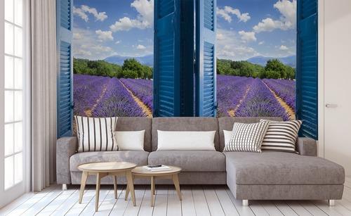 Fototapete Blick aus dem Fenster, Lavendel, Berge, azurblaue Küste, blaue Fensterläden