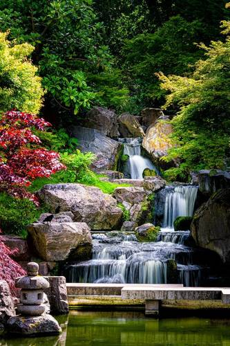 Wandgemälde Wasserfall Badezimmer, Japan, Felsen, Bäume