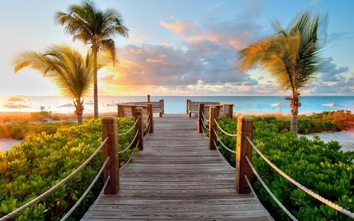 Wandgemälde Strand, Palmen, Holzbrücke, Sonnenuntergang