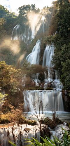 Wandbild Thee Lor Su Wasserfall, Thailand, Sonnenstrahlen