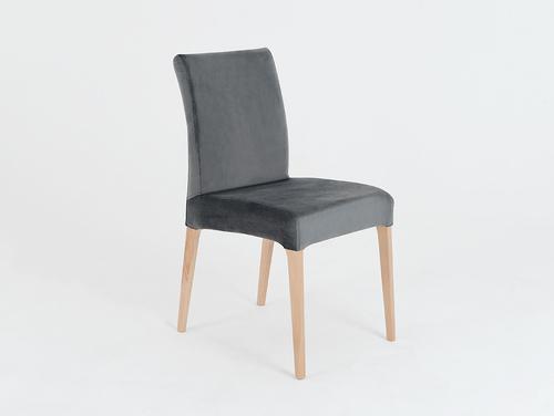 Gepolsterter grauer Stuhl DIANA, Buche