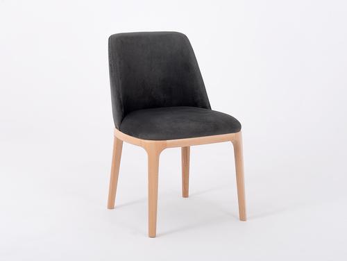 Moderner Stuhl LULU gepolstert, Buche, grau beige
