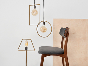 Stuhl Vintage TONE SOFT Nussbaum Polster grau beige small 1