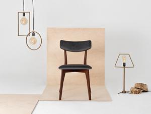 Stuhl Vintage TONE SOFT Nussbaum Polster grau beige small 2