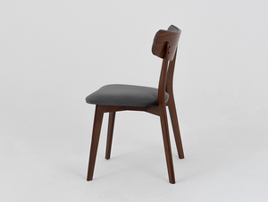 Stuhl Vintage TONE SOFT Nussbaum Polster grau beige small 3