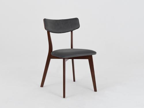 Stuhl Vintage TONE SOFT Nussbaum Polster grau beige