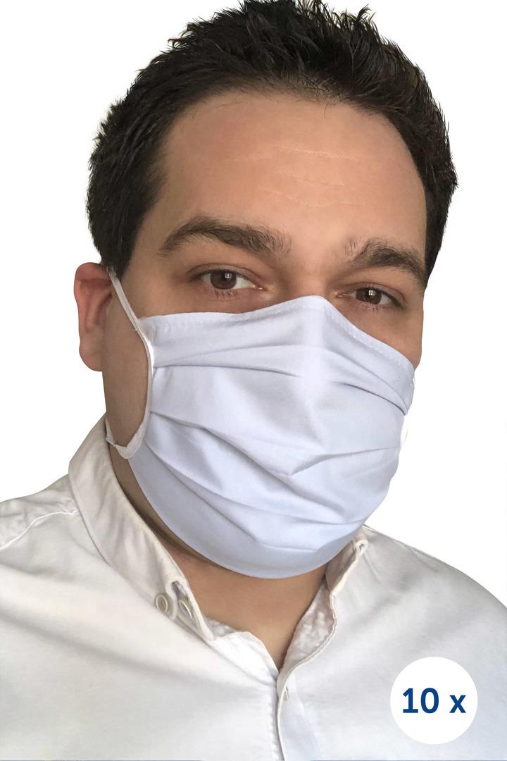 Baumwollschutzmaske an Trägern 10 Stück blau