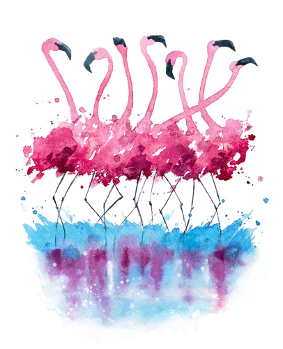 Wandbild für Kinder, Flamingos, mit Aquarell bemalt, Weihnachtsdekoration