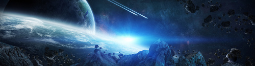 Wandbild 3D, Raum, blaue Farbe, Asteroiden, Erde.