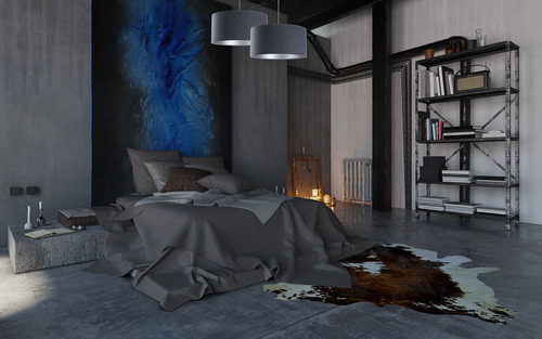 Hängende Deckenleuchte für das Wohnzimmer Leder Marineblau / Silber E27 60W