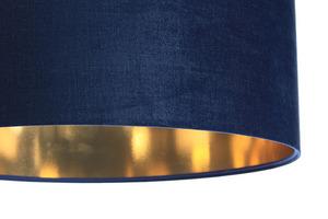 Leder - dunkelblaue Hängelampe, Samtstoff, Gold E27 60W small 1