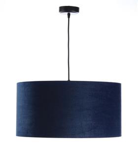 Leder - dunkelblaue Hängelampe, Samtstoff, Gold E27 60W small 2