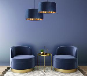 Leder - dunkelblaue Hängelampe, Samtstoff, Gold E27 60W small 5