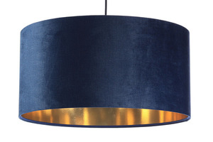 Leder - dunkelblaue Hängelampe, Samtstoff, Gold E27 60W small 6