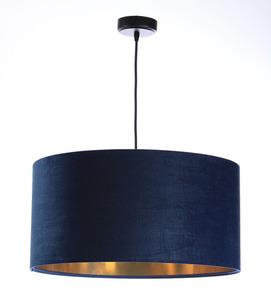 Leder - dunkelblaue Hängelampe, Samtstoff, Gold E27 60W small 0