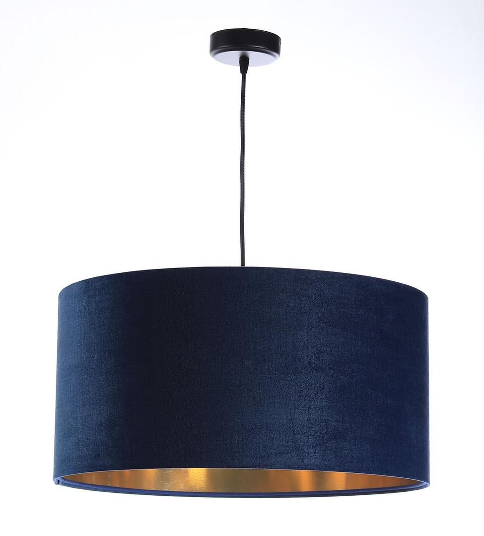 Leder - dunkelblaue Hängelampe, Samtstoff, Gold E27 60W