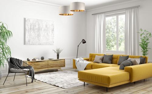 Leder - Hängelampe über dem Tisch, Samtstoff, creme / gold E27 60W