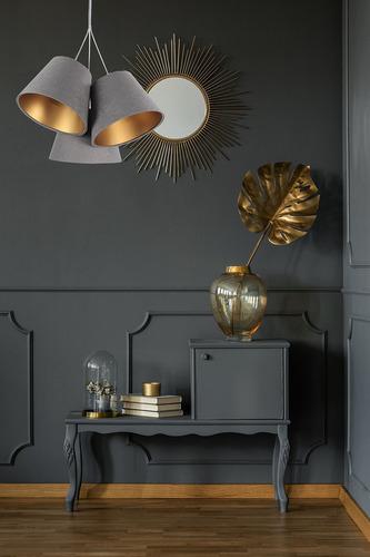 Triple BUCKET E27 40W Lampe grau / gold höhenverstellbar